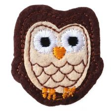 DARK BROWN OWL MOTIF IRON ON EMBROIDERED PATCH APPLIQUE